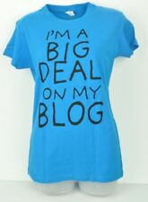 Royal Blue Large L I'm a big deal on my Blog Ladies Tshirt Crew Neck Cotton