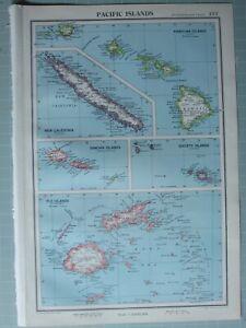 1952 MAP ~ PACIFIC ISLANDS SAMOAN ISLANDS HAWAII NE CALEDONIA FIJI SOCIETY