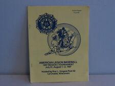 American Legion Baseball Souvenir Program 1987 Roy L Vingers Post 52 Lacrosse