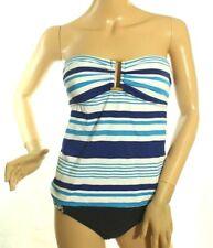 Ralph Lauren Women's Blue Striped Tankini Top Ring Front