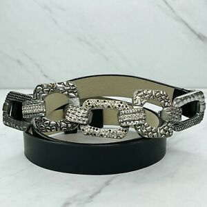Chico's Black Genuine Leather Chain Hook Buckle Belt Size Medium M Large L