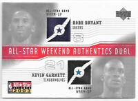 Kobe Bryant Kevin Garnett 2003 Upper Deck DUAL All Star Patch GAME USED WORN LA