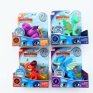 NETFLIX DRAGONS RESCUE RIDERS Set of 4 BURPLE AGGRO WINGER SUMMER FIGURES NEW