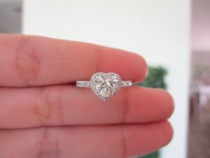 2.50 CF Diamond Illusion Heart Shaped Engagement Ring 18k White Gold ER145 sep *