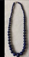 """Graduated Large Real Lapis Lazuli Bead Necklace With 925 Silver Clasp 19"""""""