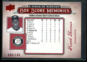 FRANK THOMAS 2008 UD PIECE OF HISTORY BOX SCORE MEMORIES RED #d 063/149