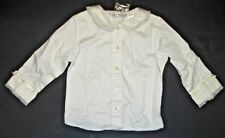 George White Blouse Long Sleeve Peter Pan Collar Button Up Front Lace Trim 18 mo