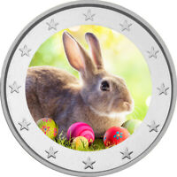 2 Euro Gedenkmünze Ostern coloriert Farbe / Farbmünze / Hasen / Eier / Ostereier
