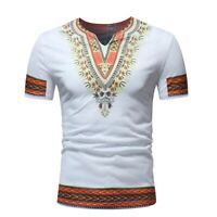 Men's Casual Ethnic Print African T-Shirt Short Sleeve Stand Collar Shirts Tops