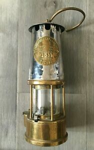 Brass & Steel Miners Lamp The Protector Eccles Type 6 Ministry of Power NoB/28
