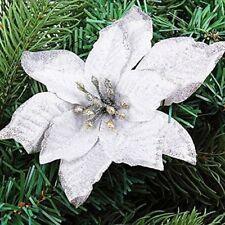 10Pcs 13cm Glitter Hollow Wedding Party Christmas Flowers Xmas Tree Decor Fake