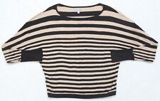 Olivia Sky Shirt Long Sleeve Women's Size Small Black Beige Striped Top Cotton