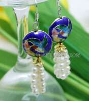SALE 4-5mm White Round Natural Pearl & 18mm Blue Cloisonne Dangle earring-ear522