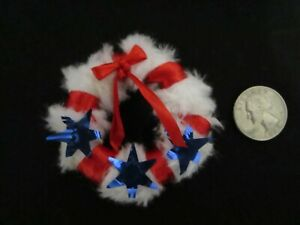 Dollhouse Miniature Wreath Red White & Blue with  Red  Bow, White Fluffy