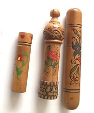 Two Turned  Wood Needle Case, Unusual needle case and small hand painted