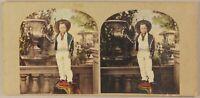 Royaume-Uni Jeune Anglais Photo Stereo Vintage Albumine Colorisé ca 1860