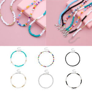 """ANKLET ANKLE BEAD BRACELET 36 COLOURS STRETCHY/STRETCH 9.5"""" OPAQUE/METALLIC"""