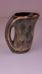 Beautiful Vintage Studio Pottery Highly Decorated and Gilded Jug FREE UK P&P