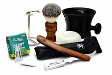 6 PIECES SHAVING SET FOR MEN'S.WOODEN HANDLE BRUSH+RAZOR,STAND,BLADE, MUG &SOAP.