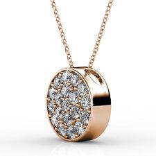 18k rose gold gp genuine SWAROVSKI crystal Round Pendant necklace circle