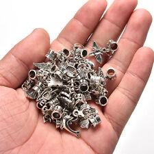 40pcs Lots Wholesale Tibetan Silver Charm Beads Fit European Chain Bracelet ou