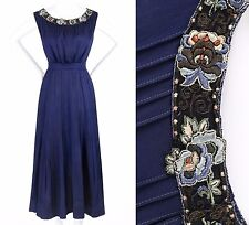 Vtg COUTURE c.1910's Edwardian Navy Blue Silk Floral Embroidered Evening Dress