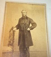 Antique American Civil War Era Victorian Fashion Gent! Rochester, NY CDV Photo!