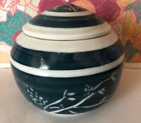 Vintage Studio Art Pottery Trinket Dish Signed Helen Flower Mark Teal Blue White