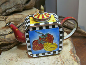 Enamel Hand Painted Blue inside Strawberry Banana Miniature Teapot