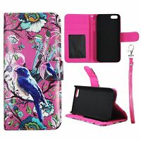 Wallet Pink Flower Bird For Apple Iphone SE Syn Leather Case Cover Flip Pouch