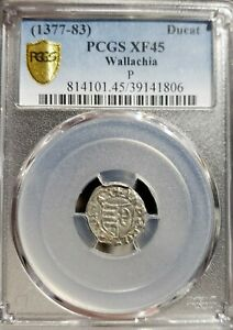 Radu I 1377-1383 AD P .AR Ducat .Wallachia . Vlad  Grandfather.PCGS XF 45