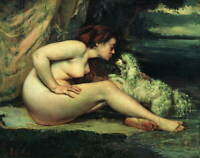 Gustave Courbet Nude Woman with a Dog Giclee Art Paper Print Poster Reproduction