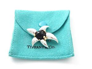 Tiffany & Co Silver 18K Gold Onyx Flower Brooch Pin!