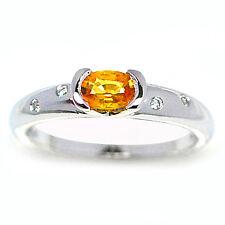NEW YELLOW SAPPHIRE & DIAMOND 9ct WHITE GOLD RING uk hk