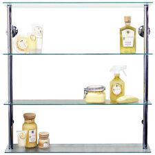 Maxwell-mur monté Large Stockage De Verre Tablettes Transparent/Argent