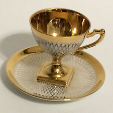Vtg GOLD Demitasse Pedestal Cup & Saucer French Limoges Paris Art Deco Geometric