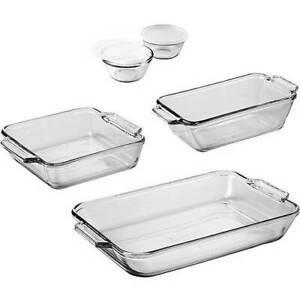 Glass Pan Baking Set Bakeware Pans Cups 7-Piece Loaf Cake Custard Oven Safe Gift