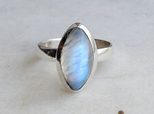 STERLING SILVER BIG RAINBOW MOONSTONE SOLID SILVER RING SIZE 5 6 7 8 9 ALL SIZE