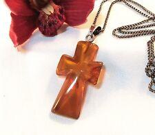 Halskette Kette 835 Silber mit Kreuz Anhänger Bernstein Bernsteinkreuz / be 938