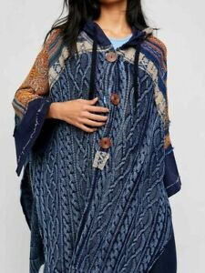 FREE PEOPLE SAMMY COTTON CABLE KNIT PONCHO INDIGO BLUE SIZE XS NEW WITH TAGS