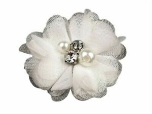 10pc Decorative Mesh Flower Ø50mm With Beads Other Flowers To Sew Glue On Clo...