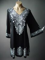 Black 70s Boho Moroccan Ethnic Folk Design Flare Sleeve 236 mv Dress 1XL 2XL 3XL