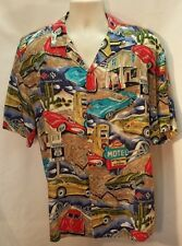 PARADISE FOUND ROUTE 66 CAR PRINT THEMED MEN'S  HAWAIIAN SHIRT SIZE LARGE EUC