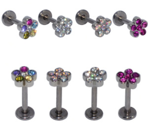 5mm Multi Crystal Flower Barbell Stud Lip Bar Ear Tragus Conch Helix Cartilage