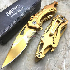 Mtech USA Gold Serrated Blade Tactical Hunting Rescue Pocket Knife MT-A705GD
