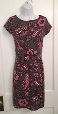 Boden Women's Floral Knit Shift Dress Pink Brown Gray  US 4R / UK 8R