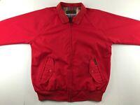 Vintage 80s Eddie Bauer Men L / XL Red Harrington Barracuda Jacket Plaid Lined