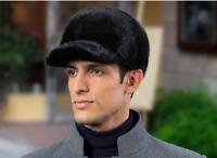 Winter Men 100% Real Genuine Mink fur hat Cap Winter Warm Gift