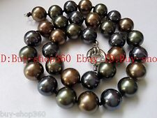 Real 10mm Black Green Brown South Shell Pearl Necklace 18'' AAA