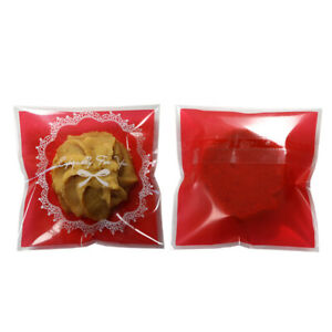 Clear Self Adhesive Red Design OPP Treat Cookie Bags Variety Quantities 7x7cm